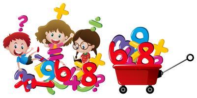 Bambini e numeri in carro rosso vettore