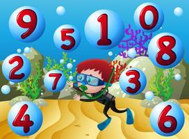 Conteggio dei numeri con ragazzo che si tuffa sott'acqua vettore
