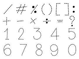 Numero uno a zero e segni matematici