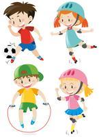 Quattro bambini che praticano sport diversi vettore