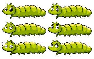 Bruco verde con diverse emozioni vettore