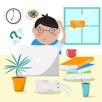 online, remoto, e-education, educazione dei bambini, scuola online, concetto di scuola a casa. ragazzo triste e confuso. non capire il processo di apprendimento. illustrazione vettoriale. vettore