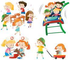 Bambini che giocano a giochi diversi vettore