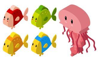 Design 3D per meduse e molti pesci vettore