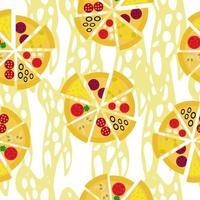 pizza con diversi ripieni e formaggio senza cuciture, set di fette di pizza su sfondo bianco vettore