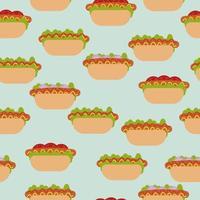 modello senza cuciture di hot dog, varianti di salsicce in panini con diverse aggiunte su sfondo blu vettore