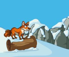 Volpe selvaggia sulla montagna della neve vettore