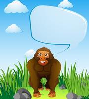 Modello di bolla di discorso con la gorilla vettore
