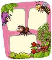 Modello di confine con molti insetti in giardino