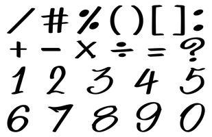 Progettazione di font per numeri e segni matematici vettore