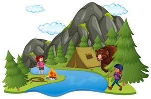 Campeggio con camper e orso grande vettore