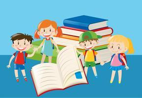 Libri e bambini felici vettore
