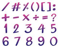 Font design per i numeri in rosa e viola