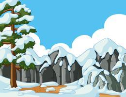 Scena con neve sulla montagna