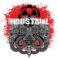 emblema industriale con teschio vettore