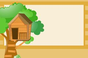Modello di confine con sfondo casa sull'albero