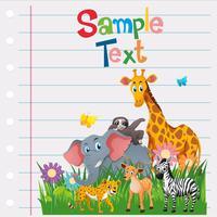 Modello di carta con animali selvatici