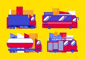 Insieme di clipart di trasporto di autobus e camion vettore