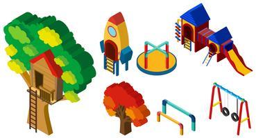 Progettazione 3D per diverse stazioni al parco giochi vettore