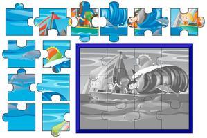 Gioco di puzzle con i bambini che navigano in mare vettore