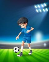 Un giocatore di calcio allo stadio