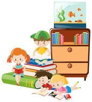 Bambini che leggono libri nella stanza vettore