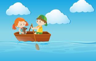 Imbarcazione a remi per bambini nel fiume vettore