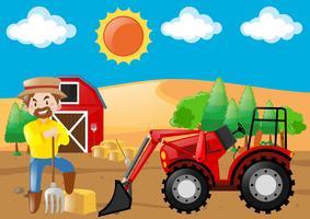 Scena dell'azienda agricola con il trattore e il coltivatore vettore