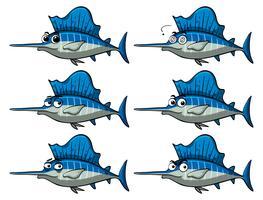 Pesce spada con diverse espressioni facciali vettore
