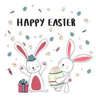 felice due coniglietto con uova carine, carta di Pasqua felice