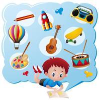 Ragazzo e diversi giocattoli e collezioni