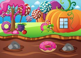 Scena con casa di zucca e fiume del cioccolato