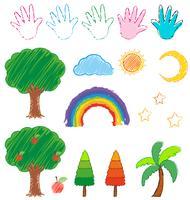 Doodles l'immagine per gli oggetti della natura vettore