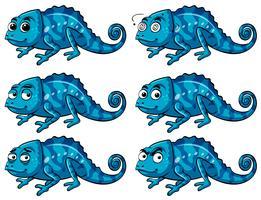 Lucertola blu con sei diverse emozioni vettore