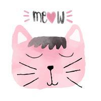 idea di gatto divertente rosa acquerello per carta vettore