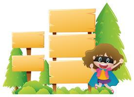 Modello di cartello in legno con ragazza che indossa la maschera vettore