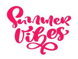 Vibrazioni di estate disegnata a mano lettering testo di calligrafia vettoriale