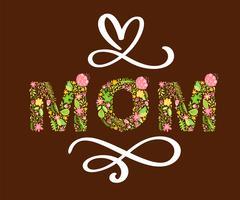 Testo estivo floreale mamma. Illustrazione vettoriale disegnata a mano maiuscola capitale con fiori e foglie e lettere di calligrafia bianca su sfondo rosso per la festa della mamma