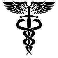 Simbolo medico del caduceo, con due serpenti, spada e ali, illustrazione vettoriale