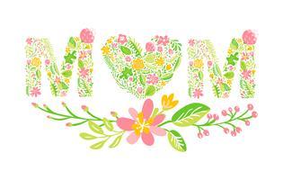 Parola di estate floreale mamma. Lettere maiuscole a fiore maiuscole. Carattere colorato con fiori e foglie. Illustrazione vettoriale stile scandinavo per la festa della mamma