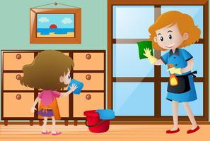 Ragazza e domestica che puliscono la casa vettore
