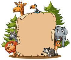 Modello di carta con animali selvatici nella foresta