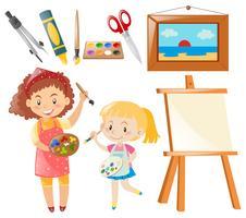 Set di persone che dipingono e oggetti d'arte
