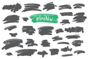 Set di vernice nera, pennellate di inchiostro, pennelli, linee