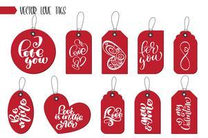 Tag e carte regalo di San Valentino vettore