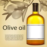 Una bottiglia realistica di olio d'oliva. Illustrazione vettoriale