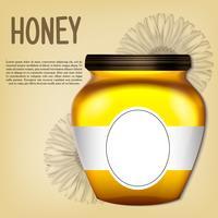 Banca 3d realistica di miele. Illustrazione vettoriale retrò