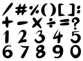 Font design per numeri e segni in nero