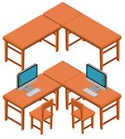 Design 3D per tavoli e sedie vettore