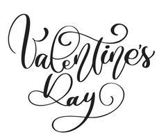 Manifesto di tipografia di giorno di San Valentino con testo scritto a mano di calligrafia vettore